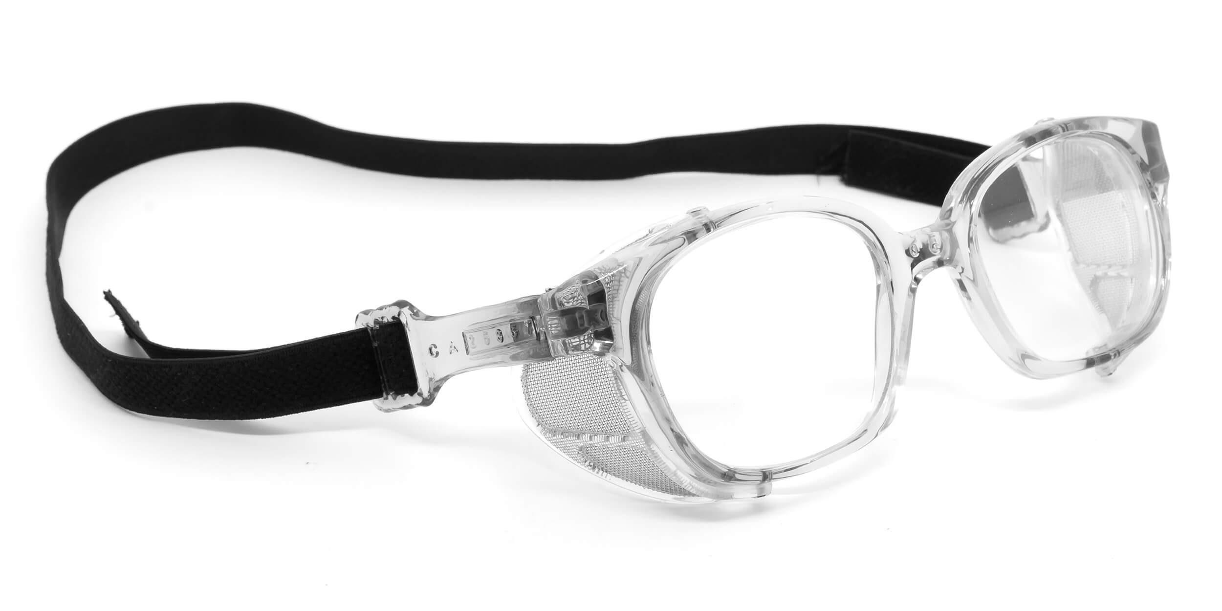 Óculos com proteção lateral móvel, tela metálica e meia haste com elástico. 8b34bca00e